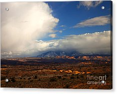 Storm Over The La Sals Acrylic Print by Mike  Dawson
