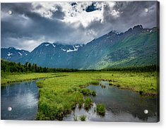 Storm Over The Mountains Acrylic Print by Andrew Matwijec