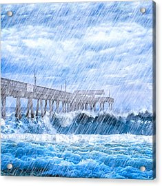 Storm Over The Sea - Tybee Pier Acrylic Print by Mark E Tisdale