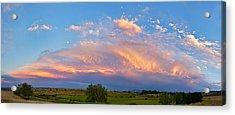 Storm Sunset Moon Longmont To Boulder Co Panorama Acrylic Print