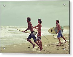 Storm Surfers Acrylic Print by Laura Fasulo