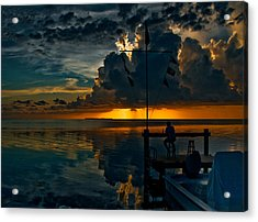 Sunset Tropical Storm And Watcher In Florida Keys Acrylic Print