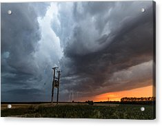 Stormfront At Sunset Acrylic Print by Ian Hufton