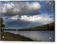Storms Brewing Over The Old Arch Street Bridge Acrylic Print by Gene Walls
