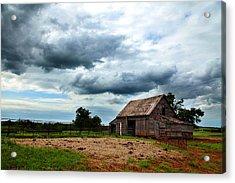 Storms Loom Over Barn On The Prairie Acrylic Print
