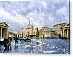 Storms Over St Peter's Basilica In Rome Acrylic Print by Mark Tisdale