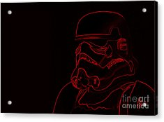Acrylic Print featuring the digital art Stormtrooper In Red by Chris Thomas