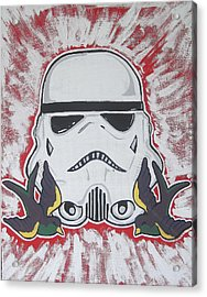 Stormtrooper Tattoo Art Acrylic Print by Gary Niles