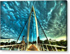Stormy Bridge Acrylic Print by  Caleb McGinn
