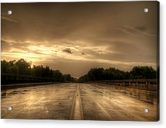 Stormy Bridge Acrylic Print by David Paul Murray