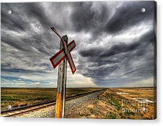 Stormy Crossing Acrylic Print by Bob Christopher