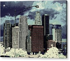 Acrylic Print featuring the photograph stormy Los Angeles from the freeway by Jodie Marie Anne Richardson Traugott          aka jm-ART