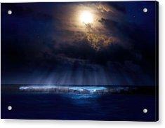 Stormy Moonrise Acrylic Print by Mark Andrew Thomas