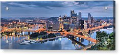 Stormy Morning Skies Over Pittsburgh Acrylic Print by Adam Jewell