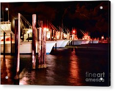 Stormy Night In The Marina - Outer Banks Acrylic Print by Dan Carmichael