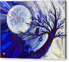 Stormy Night Owl Acrylic Print by Agata Lindquist