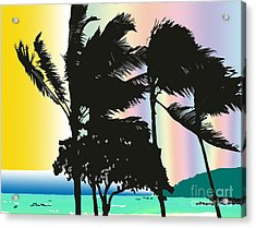 Acrylic Print featuring the digital art Stormy Palms by Karen Nicholson