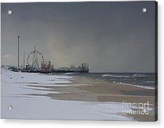 Stormy Piers Acrylic Print by Laura Wroblewski