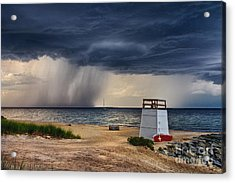 Stormy Seashore Acrylic Print by Mark Miller