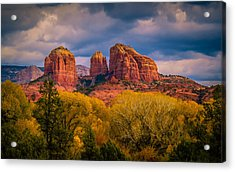 Stormy Skies Over Cathedral Rock Acrylic Print