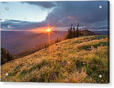 Stormy Sunset Over The Whitefish Range Acrylic Print by Chuck Haney