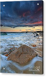 Stormy Sunset Seascape Acrylic Print by Katherine Gendreau