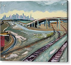 Acrylic Print featuring the painting Stormy Train Tracks And San Francisco  by Asha Carolyn Young