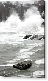 Acrylic Print featuring the photograph Stormy Waves Pound The Shoreline by Jeff Folger