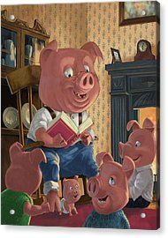 Story Telling Pig With Family Acrylic Print