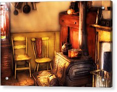 Stove - An Old Farm Kitchen Acrylic Print by Mike Savad