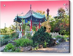 Stow Lake Pagoda In Golden Gate Park In San Francisco Acrylic Print by Jim Fitzpatrick