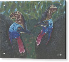 Acrylic Print featuring the drawing Strange Birds by Arlene Crafton
