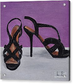 Acrylic Print featuring the painting Strappy Black Heels For Maddy by Laurel Best
