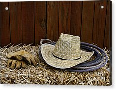 Straw Hat  On  Hay Acrylic Print