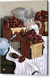 Strawberries And Cream 1997 Acrylic Print by Larry Preston