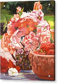 Strawberries And Flowers Acrylic Print by David Lloyd Glover