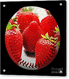 Strawberries Baseball Square Acrylic Print by Andee Design