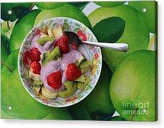 Strawberries Kiwi Banana Yogurt - Fruit - Dessert - Food Acrylic Print by Barbara Griffin