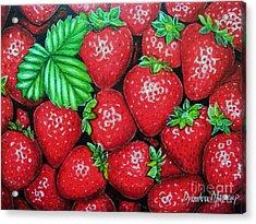 Strawberries Painting Oil On Canvas Acrylic Print by Drinka Mercep