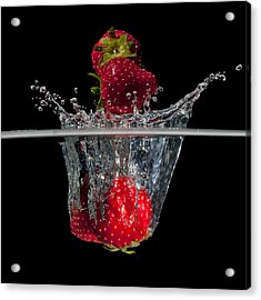 Strawberries Splashing In Water Acrylic Print by Mike Santis