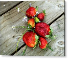 Acrylic Print featuring the digital art Strawberrries by Valerie Reeves