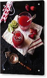 Strawberry Agua Fresca. Bottle And Glass Acrylic Print by One Girl In The Kitchen