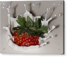 Acrylic Print featuring the photograph Strawberry And Cream by Cathy Donohoue