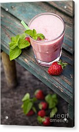 Strawberry Fruit Drink Acrylic Print by Mythja  Photography