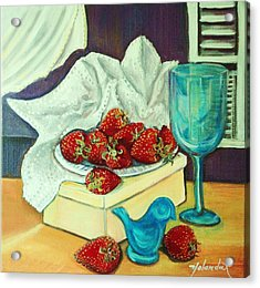 Acrylic Print featuring the painting Strawberry On Box by Yolanda Rodriguez