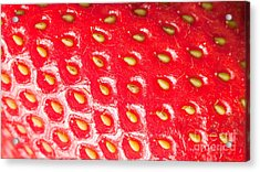 Strawberry Texture Acrylic Print by Sharon Dominick