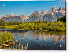 Stream At The Tetons Acrylic Print by Robert Bynum