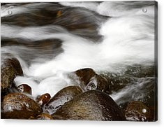 Stream Flowing  Acrylic Print by Les Cunliffe