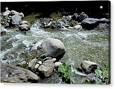 Acrylic Print featuring the photograph Stream Water Foams And Rushes Past Boulders by Imran Ahmed