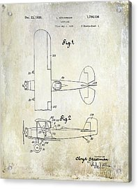 1929 Stearman Patent Drawing Acrylic Print